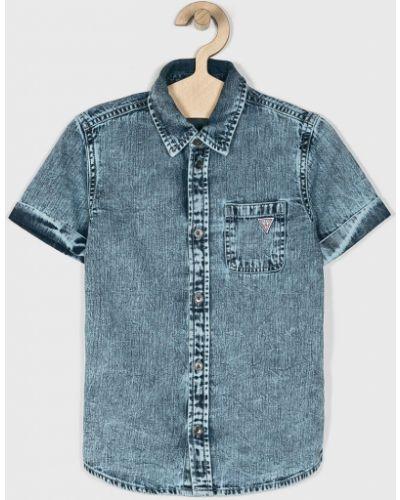 Джинсовая рубашка с узором синий Guess Jeans