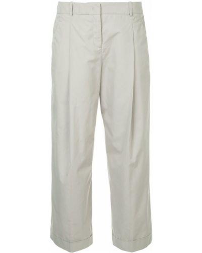 Укороченные брюки со складками хлопковые Jil Sander Navy