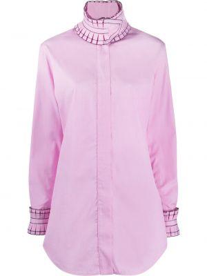 Розовая с рукавами рубашка с высоким воротником Victoria Beckham