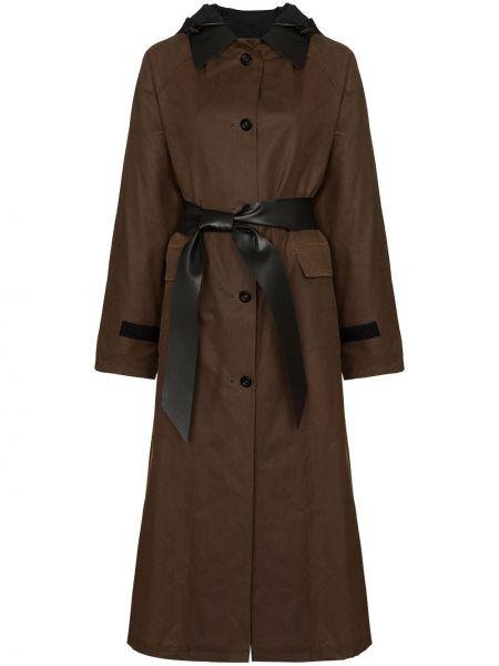 Черное пальто классическое с воротником с поясом Kassl