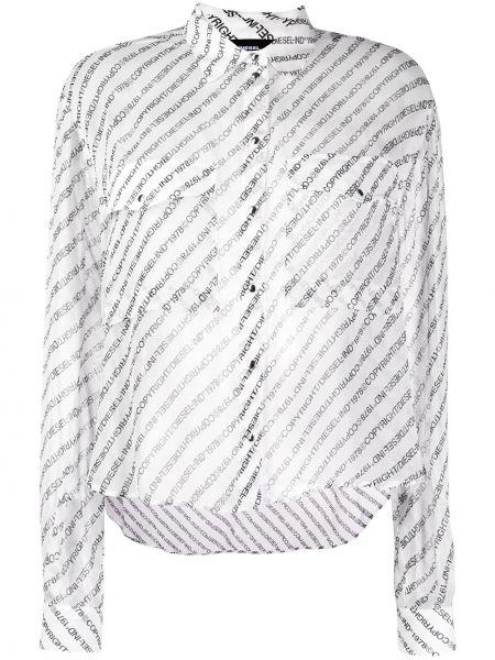 Bluzka z długim rękawem biała długa Diesel