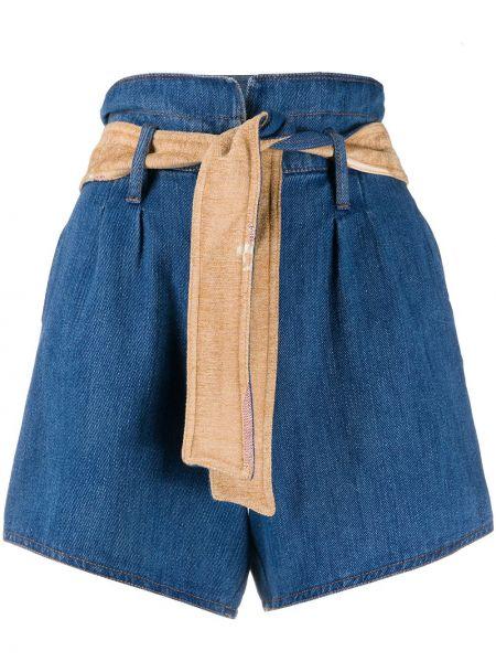 Синие хлопковые джинсовые шорты с поясом Forte Forte