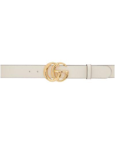 Biały skórzany szeroki pasek z paskiem bezpłatne cięcie Gucci