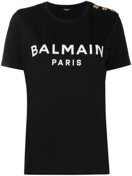 Прямая с рукавами черная футболка Balmain