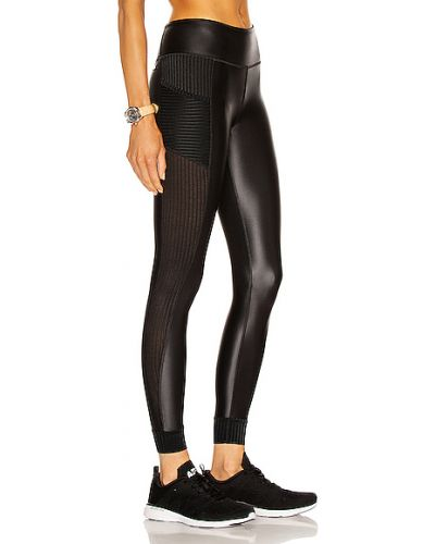 Czarne legginsy z siateczką z nylonu Alala