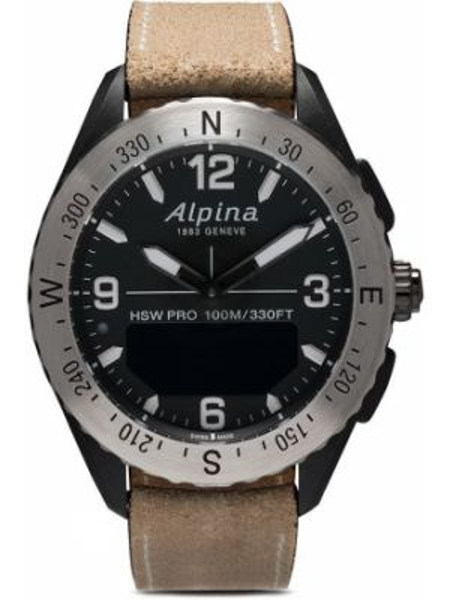 Кожаные черные часы круглые Alpina