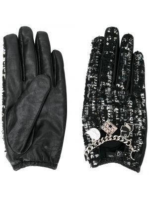 Черные кожаные перчатки без застежки металлические с подвесками Karl Lagerfeld