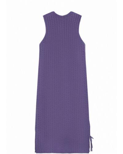 Прямое трикотажное синее платье миди Stefanel