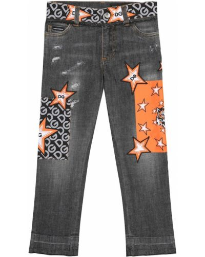Bawełna bawełna jeansy rozciągać z haftem Dolce & Gabbana Kids