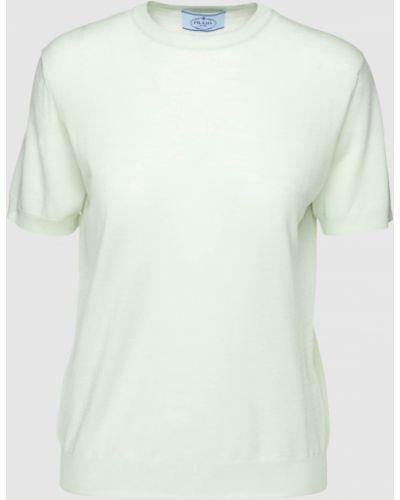 Шерстяная футболка мятная Prada