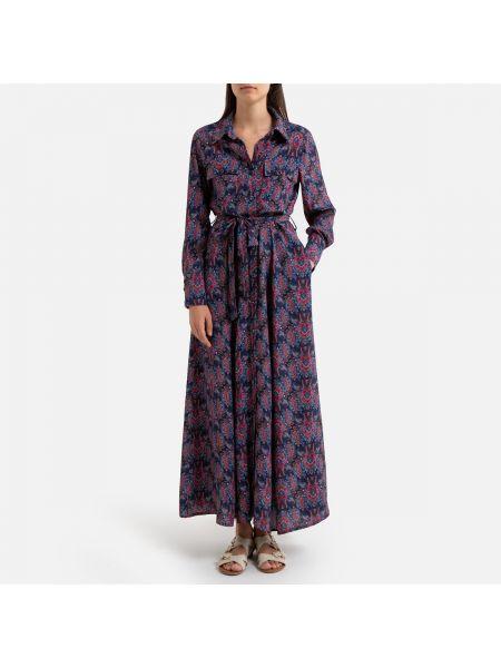Платье с поясом платье-рубашка из вискозы La Redoute