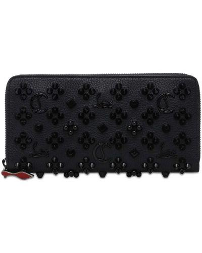Skórzany czarny portfel z gniazdem z kieszeniami Christian Louboutin