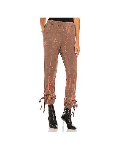 Коричневые спортивные брюки на резинке из вискозы Kendall + Kylie