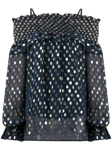 Шелковая с рукавами блузка с открытыми плечами P.a.r.o.s.h.