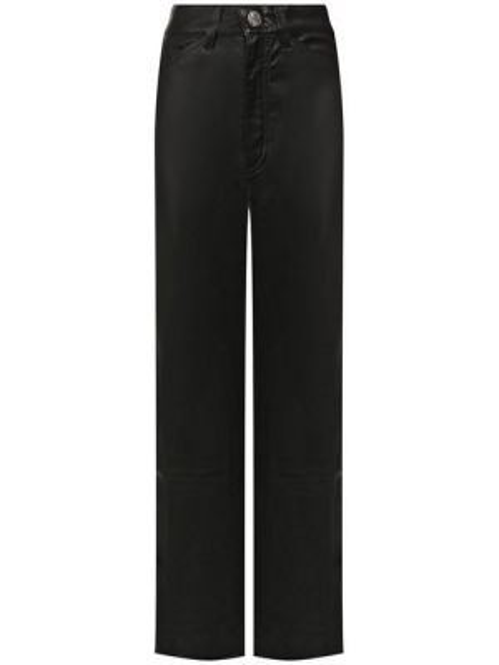 Укороченные брюки кожаные черные Sprwmn