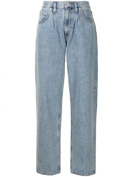 Niebieski z wysokim stanem klasyczny jeansy z kieszeniami Agolde