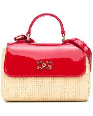 Skórzana torebka wiklinowy z uchwytem Dolce & Gabbana Kids