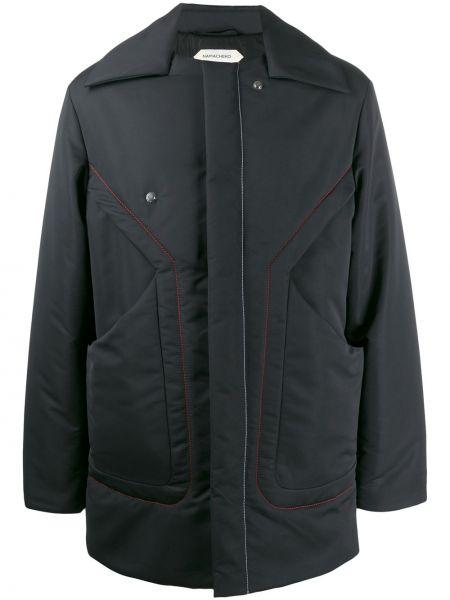 Прямая черная куртка с карманами с воротником Namacheko