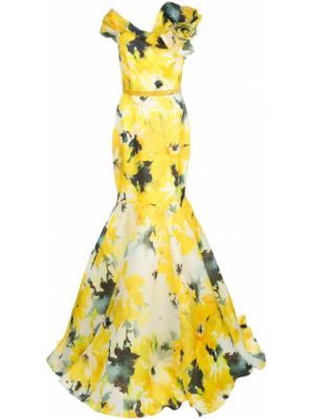Желтое шелковое вечернее платье с открытыми плечами Marchesa