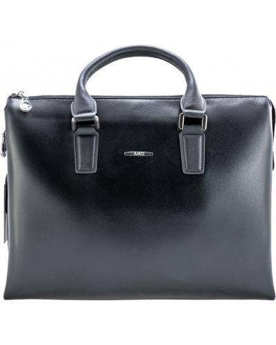 Кожаная сумка на молнии черная Amo Accessori