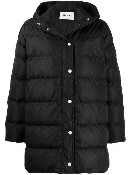 Черный длинное пальто с капюшоном на кнопках Msgm