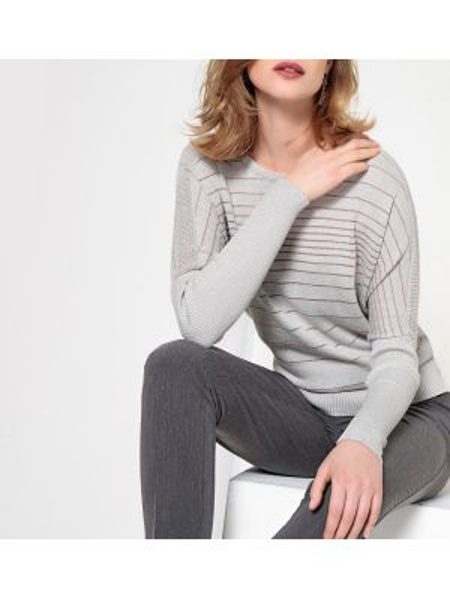 Пуловер свободного кроя в рубчик Anne Weyburn
