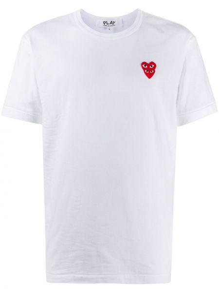 Biały bawełna prosto koszula z krótkim rękawem z haftem Comme Des Garcons Play