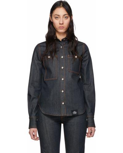 Czarna koszula jeansowa z długimi rękawami srebrna S.r. Studio. La. Ca.