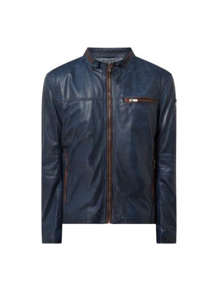 Niebieska kurtka skórzana Milestone