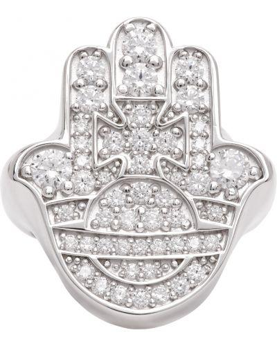 Biały pierścionek srebrny z cyrkoniami Vivienne Westwood