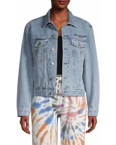 Ватная синяя джинсовая куртка с вышивкой Eleven Paris