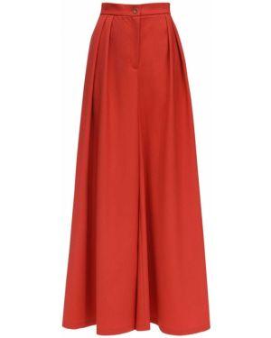 Czerwone spodnie z wysokim stanem wełniane Lesyanebo