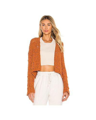 Оранжевый вязаный свитер свободного кроя Free People