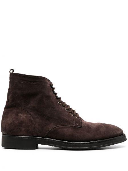 Кожаные коричневые ботинки на шнуровке на плоской подошве Alberto Fasciani