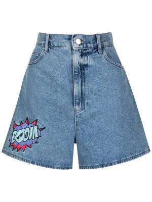 Хлопковые с завышенной талией джинсовые шорты свободного кроя Emporio Armani