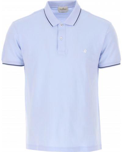 T-shirt bawełniany krótki rękaw zapinane na guziki Brooksfield