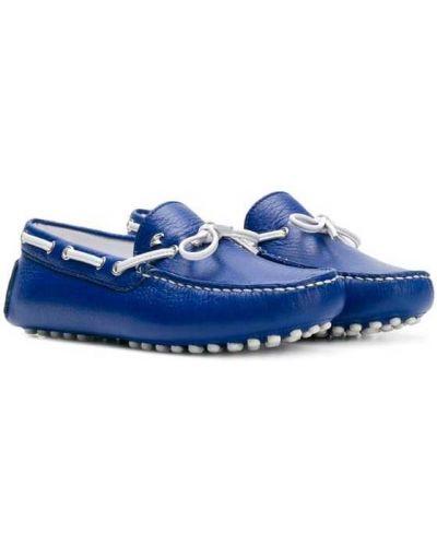 Мокасины синие кожаные Stefano Ricci Kids