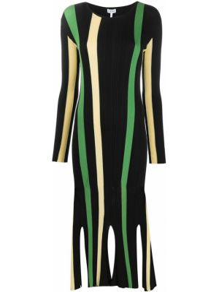 Платье миди в полоску в рубчик Loewe