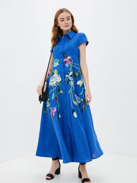 Платье платье-рубашка синее Yukostyle