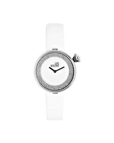 Часы на кожаном ремешке кварцевые с камнями Moschino