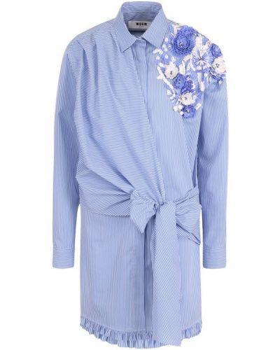 Блузка с рюшами с вышивкой с запахом с поясом Msgm