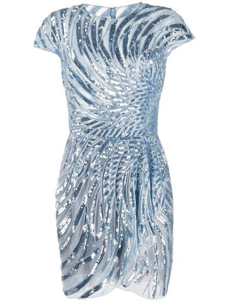 Приталенное шелковое платье мини с пайетками на молнии Zuhair Murad