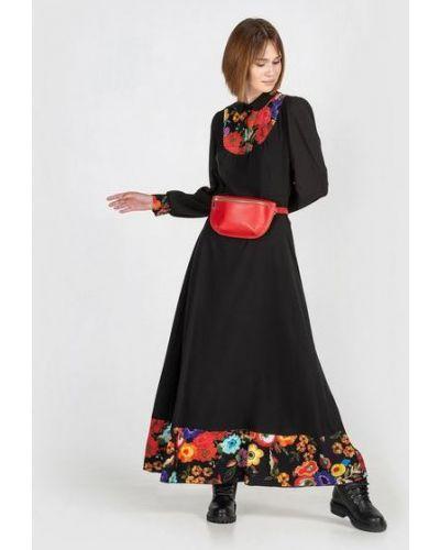 Тонкое платье макси на торжество с оборками с воротником Vovk