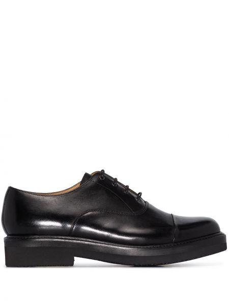 Кожаные черные кожаные туфли на шнурках круглые Grenson