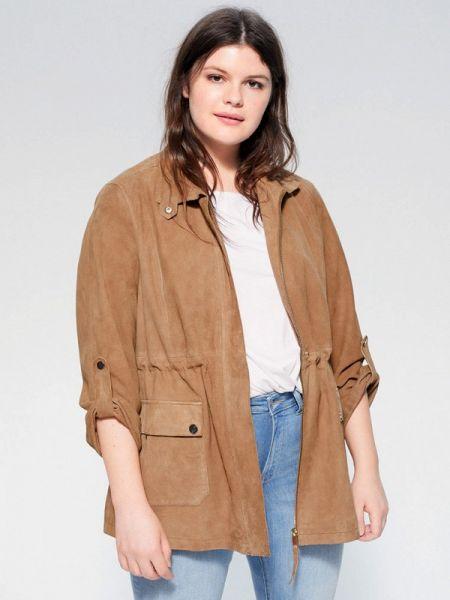 Кожаная куртка весенняя коричневая Violeta By Mango
