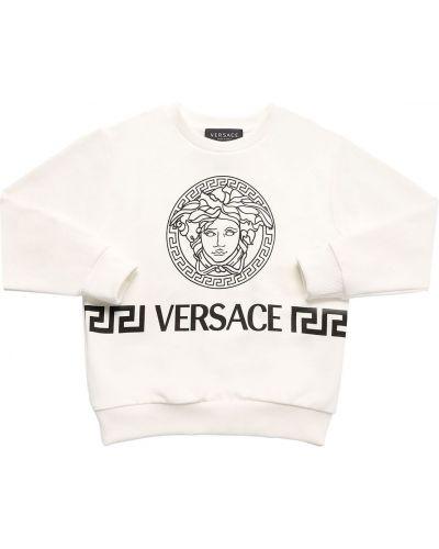 Biały bawełna bawełna bluza z mankietami Versace