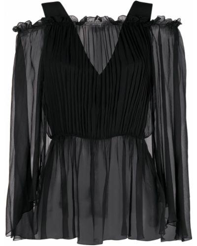 Черная открытая блузка с вырезом Alberta Ferretti
