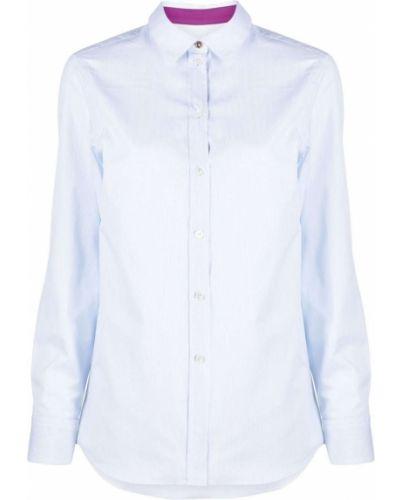 Шелковая синяя классическая рубашка в полоску Paul Smith