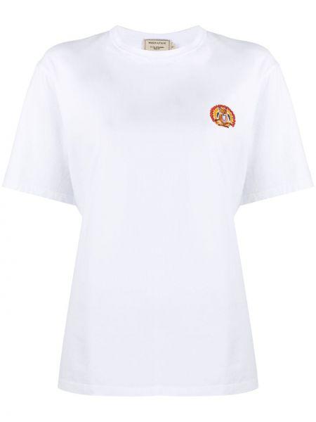 Хлопковая белая рубашка с коротким рукавом с вышивкой с короткими рукавами Maison Kitsuné