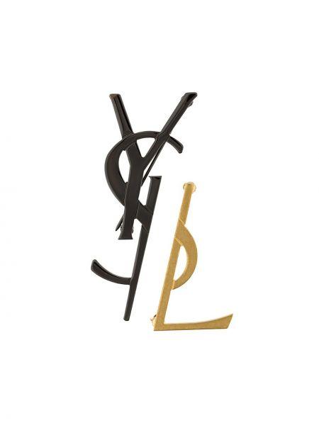Czarna złota broszka elegancka Saint Laurent